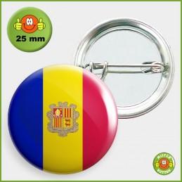 Flagge Andorra Button 25mm mit Sicherheitsnadel