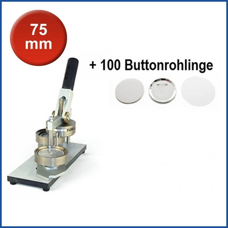 Buttonmaschine Typ 900 für 75 mm Buttons inkl. 100 Rohlinge