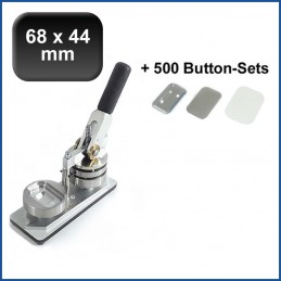 Buttonmaschine Typ 900 für 68x44mm Buttons inkl. 500 Rohlinge mit Sicherheitsnadel