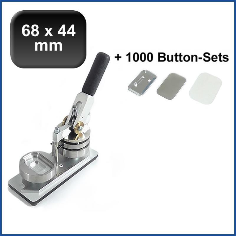 Buttonmaschine Typ 900 für 68x44mm Buttons inkl. 1000 Rohlinge mit Sicherheitsnadel