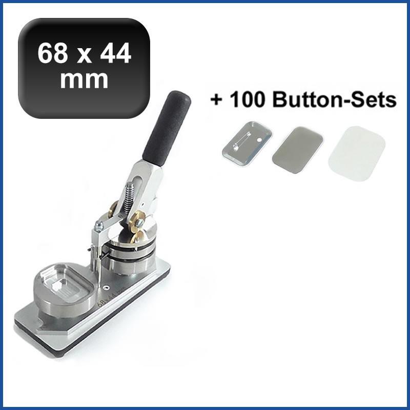 Buttonmaschine Typ 900 für 68x44mm Buttons inkl. 100 Rohlinge mit Sicherheitsnadel