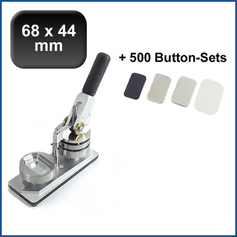 Buttonmaschine Typ 900 für 68x44mm Buttons inkl. 500 Rohlinge mit Kühlschrankmagnet