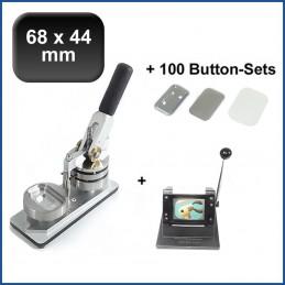 Buttonmaschine Typ 900 für 68x44mm Buttons inkl. 100 Rohlinge mit Sicherheitsnadel + Papierstanze