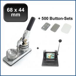 Buttonmaschine Typ 900 für 68x44mm Buttons inkl. 500 Rohlinge mit Sicherheitsnadel + Papierstanze