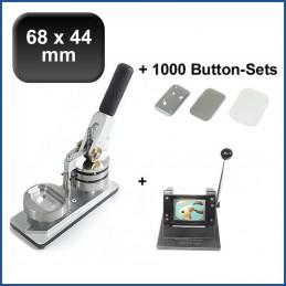 Buttonmaschine Typ 900 für 68x44mm Buttons inkl. 1000 Rohlinge mit Sicherheitsnadel + Papierstanze