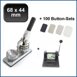Buttonmaschine Typ 900 für 68x44mm Buttons inkl. 100 Rohlinge mit Kühlschrankmagnet + Papierstanze