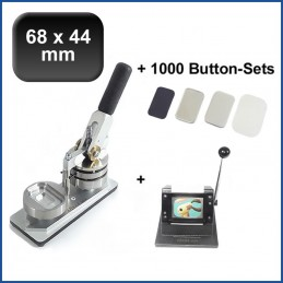 Buttonmaschine Typ 900 für 68x44mm Buttons inkl. 1000 Rohlinge mit Kühlschrankmagnet + Papierstanze