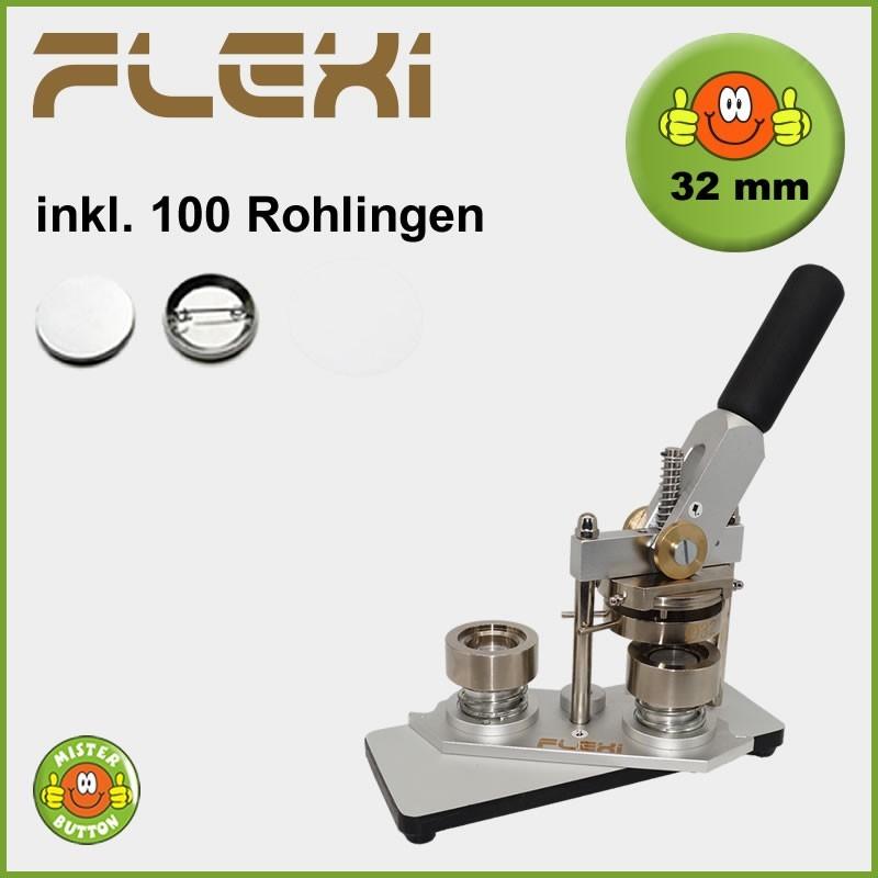 Buttonmaschine Typ 900 Flexi für 32 mm Buttons inkl. 100 Rohlinge