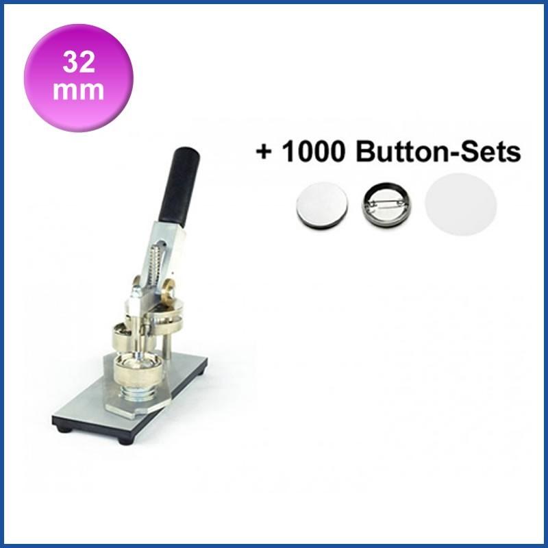 Buttonmaschine Typ 900 für 32 mm Buttons inkl. 1000 Rohlinge