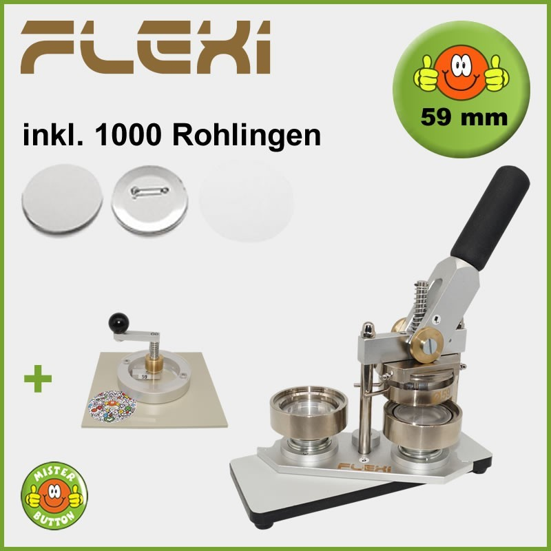 Buttonmaschine Typ 900 Flexi für 59 mm Buttons inkl. 1000 Rohlinge + Kreisschneider Typ 2006