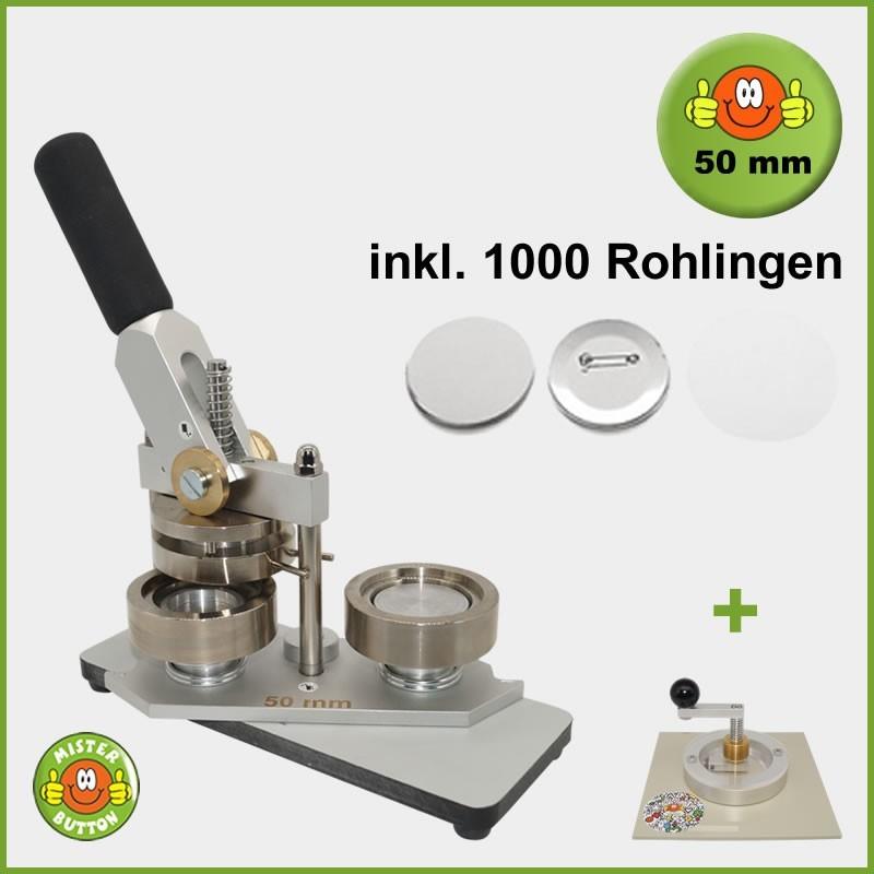 Buttonmaschine Typ 900 für 50 mm Buttons inkl. 1000 Rohlinge + Kreisschneider Typ 2006