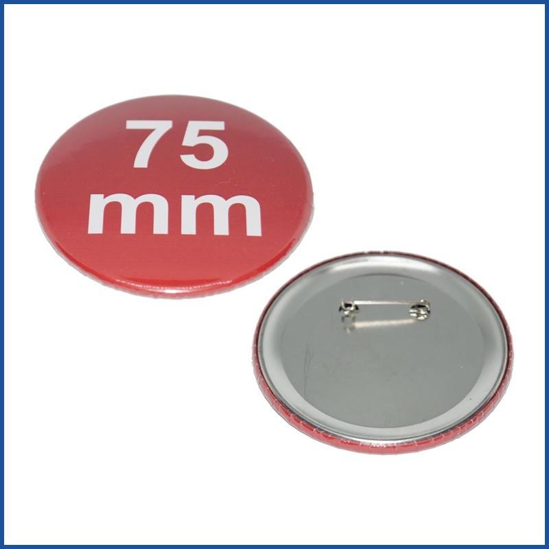 Buttons bedruckt 75mm mit Sicherheitsnadel