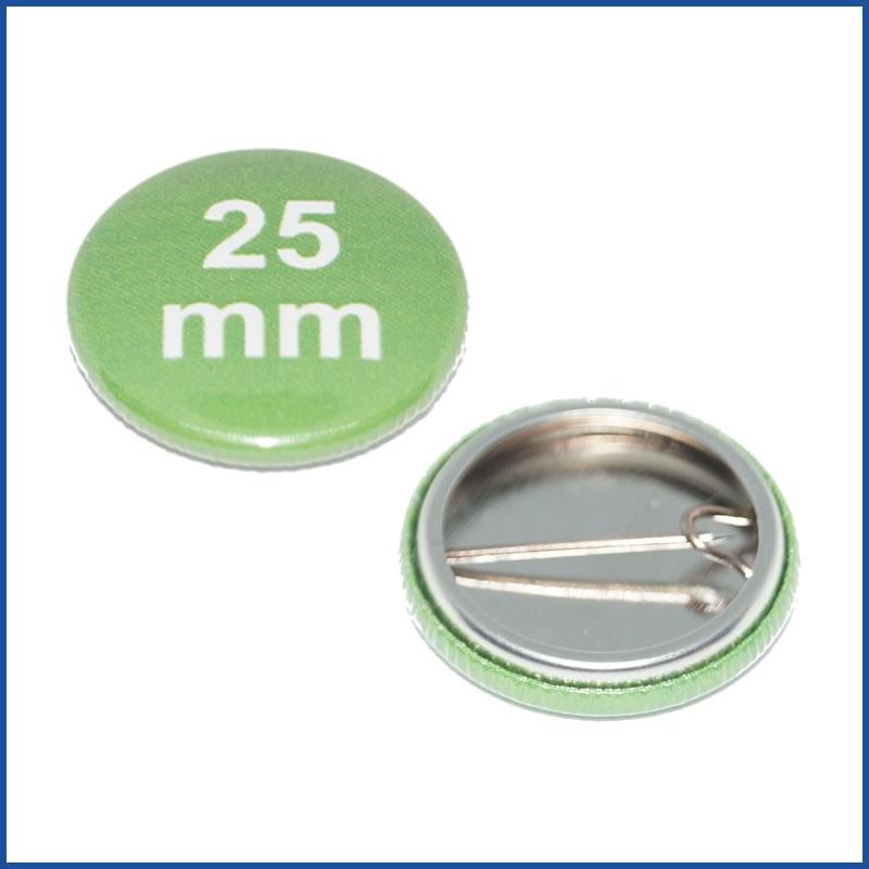 Buttons bedruckt 25mm mit Bogennadel