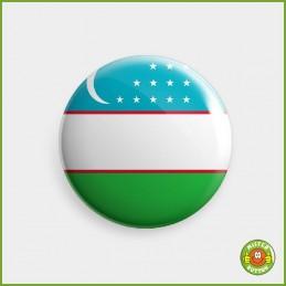 Flagge Usbekistan Button