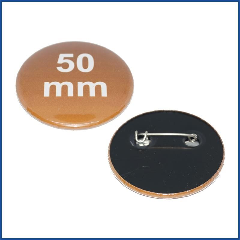 Buttons bedruckt 50mm mit Sicherheitsnadel (Kunststoff)