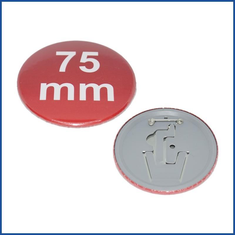 Buttons bedruckt 75mm mit Sicherheitsnadel & Aufsteller