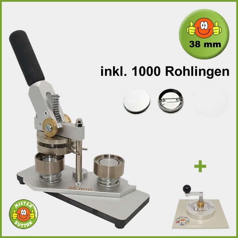 Buttonmaschine Typ 900 für 38 mm Buttons inkl. 1000 Rohlinge + Kreisschneider Typ 2006
