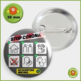 COVID-19 Coronavirus Button - Schutzmassnahmen Button 38mm mit Sicherheitsnadel