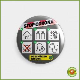 COVID-19 Coronavirus Button - Schutzmassnahmen Button