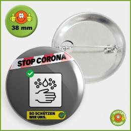 COVID-19 Coronavirus Button - Gründlich Hände waschen Button 38mm mit Sicherheitsnadel