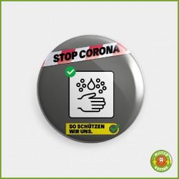 COVID-19 Coronavirus Button - Gründlich Hände waschen Button