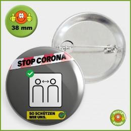 COVID-19 Coronavirus Button - Abstand halten Button 38mm mit Sicherheitsnadel