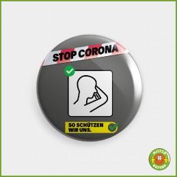 COVID-19 Coronavirus Button - In Taschentuch oder Armbeuge husten und niesen Button