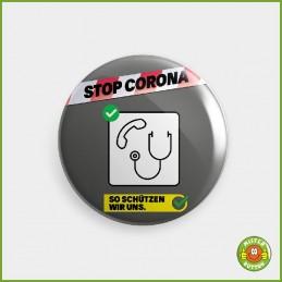 COVID-19 Coronavirus Button - Nur nach telefonischer Anmeldung in Arztpraxis oder Notfallstation Button