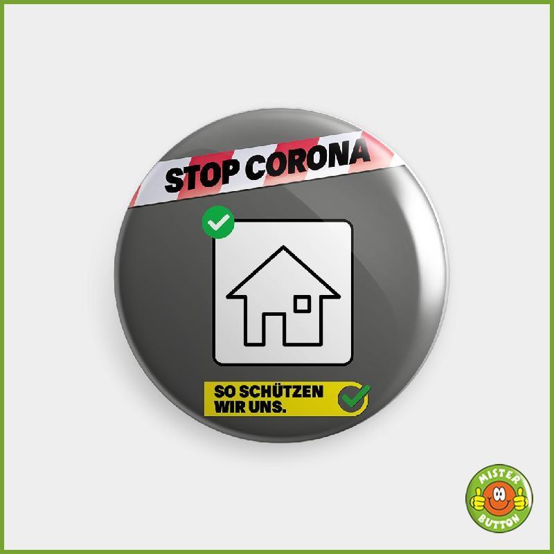 COVID-19 Coronavirus Button - BLEIBEN SIE JETZT ZUHAUSE Button