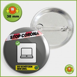 COVID-19 Coronavirus Button - Homeoffice Button 38mm mit Sicherheitsnadel