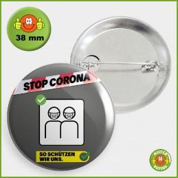 COVID-19 Coronavirus Button - Masken Button 38mm mit Sicherheitsnadel