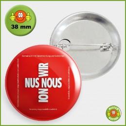 COVID-19 Coronavirus Button - Gemeinsam Button 38mm mit Sicherheitsnadel