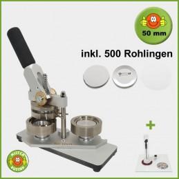 Buttonmaschine Typ 900 für 50 mm Buttons inkl. 500 Rohlinge + Kreisschneider Hulahoop Maxi